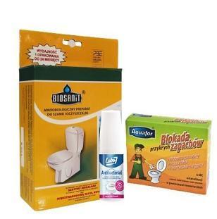 Zestaw Biosanit 500g Bakterie do Oczyszczalni + Blokada przykrych zapachów 4 szt + gratis