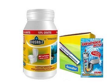 Zestaw Biosanit 1100g Bakterie do Oczyszczalni, Udrażniacz do rur  bakterie 20 saszetek + gratis